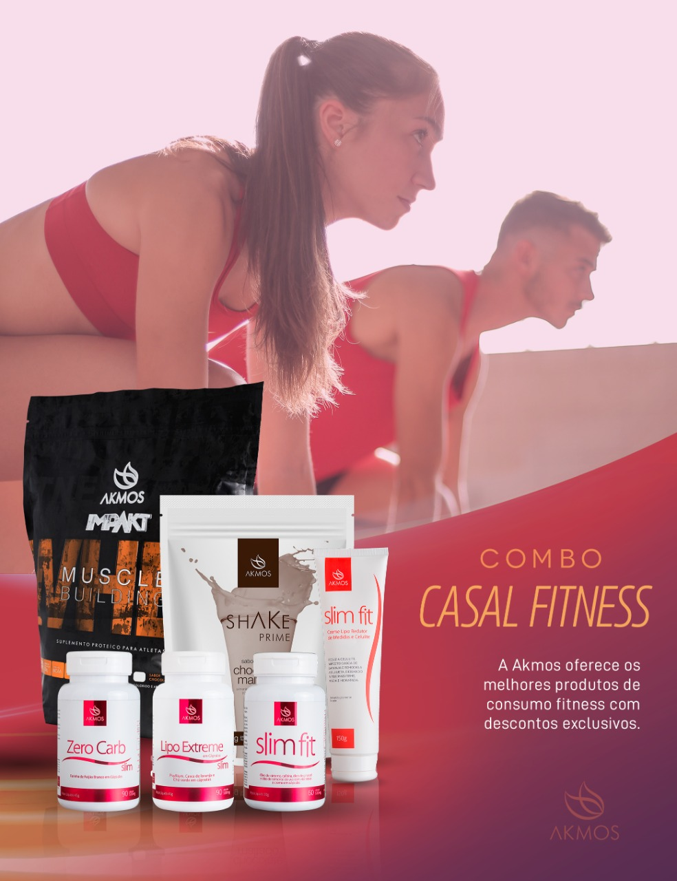 COMBO CONSUMO INTELIGENTE CASAL FITNESS  - WHEY PROTEIN CHOCOLATE + SHAKE  PRIME ABACAXI COM HORTELA Akmos